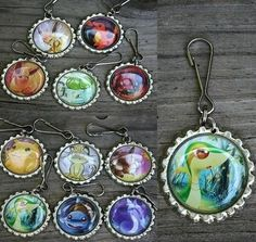 pokemon bottle cap keychains! (i would make color copies of the cards, and not use the real thing, unless they were already half destroyed... )