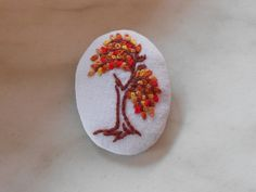 Autumn colors fabric brooch hand embroidered by RedWorkStitches, $20.00