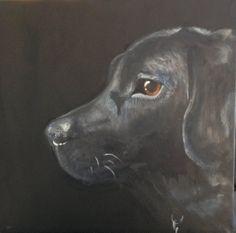 """Murphy"" black labrador acrylics"