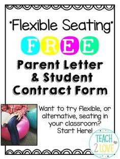 Flexible Seating Freebie - Parent Letter & Student Contract