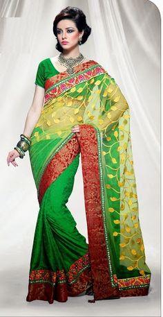 Lovely Green Light Yellow Net Jari Jequard Viscos Saree with Blouse