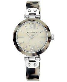 Anne Klein Women's Silver-Tone Tortoise-Printed Bracelet Watch 34mm 10-9653CMGY
