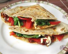 Red Pepper and Spinach Quesadillas