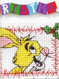 Rabbit Christmas Card Cross Stitch Card Shop Issue 38 September/October 2004 Saved