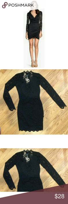"😍H&M lace long sleeve V neck black dress This gorgeous H&M black lace dress is sexily sophisticated for any formal event. Beautiful lace patterned design with scalloped borders on v neck and on skirt hem. Polyester blend with spandex fit, Fully lined and long sleeve coverage, fitted waist is 12"", hips are 13.5"". From waist line to bottom hem is 17"", shoulder to shoulder 13"", size XS. Dress up with pumps, stilettos, flats and clutch.possibilities are endless! NWOT, UNUSED, NO DAMAGES. Grab…"