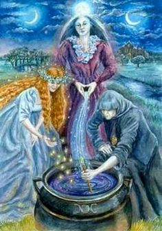 """Magick Wicca Witch Witchcraft: """"Triple Goddess,"""" by Wendy Andrew. Celtic Goddess, Celtic Mythology, Goddess Art, Moon Goddess, Hecate Goddess, Tarot Celta, Maiden Mother Crone, Pagan Art, Triple Goddess"""