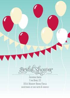Banner and Balloons Bridal Shower Invitation with customizable balloon colors.