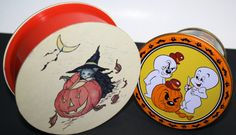Vintage 80s Halloween Candy Containers-Casper the Friendly Ghost and Kitty Cucumber