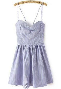 Blue White Striped Spaghetti Strap Backless Pleated Dress US$22.33