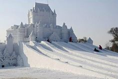 hotel slide -This snow sculpture is modeled after the Chateau Frontenac in Quebec City, Canada.