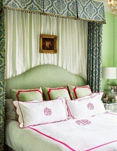 Green bed with just the right amount of pink for added fun