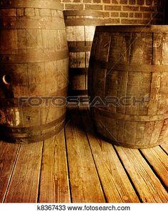 vieux, vin, Barrells Voir Image Grand Format