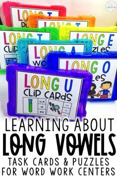 Use these long vowel word work centers for kindergarten, first grade, or 2nd grade classrooms. These word sorts and phonics centers include: a_e, ai, ay, ea, ee, ey, ie, y, i_e, igh, ie, o_e, oa, ow, u_e, ew, ue, and ui. They include cvce words! Students can use these games and practice reading, writing, and spelling these long vowel words. Printable worksheets also included!