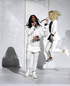 LOS ANGELES, CA - FEBRUARY 12: Recording artists Skip Marley (L) and Katy Perry perform onstage during The 59th GRAMMY Awards at STAPLES Center on February 12, 2017 in Los Angeles, California. (Photo by Kevin Winter/Getty Images for NARAS) via @AOL_Lifestyle Read more: https://www.aol.com/article/entertainment/2017/02/12/grammy-awards-2017-best-and-worst-dressed/21712482/?a_dgi=aolshare_pinterest#fullscreen