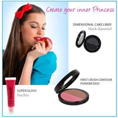 Get ready for that on-screen kiss with our new Super Gloss Fuchsia! Lips will keep color for hours with this ultra-brilliant color that provides long lasting moisture. Brighten look with First Crush Contour Powder. It'll give you a sweet, subtle shimmer for the perfect princess look. And last but not least, highlight your eyes with our Dimensional Cake Liner in Black Diamond. Create real drama and true lasting color with the duo matte and shimmer line, a look that will last for hours on end.