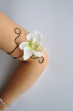 orchid flower upper arm cuff adjustable armlet white flower girl wedding festival jewelry. £9.55, via Etsy.