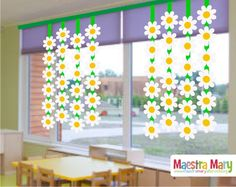 Spring decorations with daisies - of - - Spring Crafts For Kids, Paper Crafts For Kids, Preschool Crafts, Paper Flowers Craft, Flower Crafts, Fathersday Crafts, Christmas Classroom Door, Classroom Art Projects, Spring School