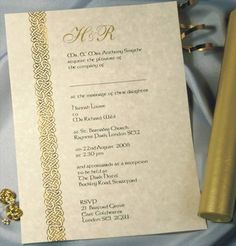 Celtic Parchment Wedding Invitation with Postal Tubes from CelebrationsPlus.com