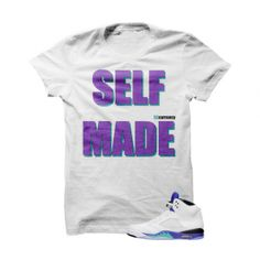 """Self Made Grape 5s White T Shirt. The Self Made Grape 5s White T Shirt is a premium quality sneakerhead t shirt. It matches with theAir Jordan 5 Retro """"Grape"""" Sneakers. *************************************************************** FOLLOW US ON INSTAGRAM: @illCurrency FOLLOW US ON TWITTER: @ill_Currency LIKE US ON FACEBOOK: facebook.com/illcurrency FOLLOW US ON PINTREST:pinterest.com/illcurrency"""