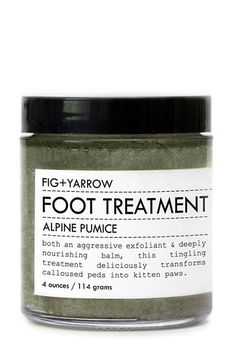The No-Brainer Guide To A DIY Pedicure #refinery29  http://www.refinery29.com/diy-winter-pedicure#slide-2  Step 2: Buff, Buff, Buff  Hope you've got a hearty supply of elbow grease. It's time to work away those flakes and callouses. But, the experience doesn't have to be unpleasant, especially when you're using a foot scrub like FIG+YARROW Alpine Pumice Foot Treatment. Ground pumice gets rid of even the most stubborn dead skin, while shea, coconut butters, and tingly essential oils...