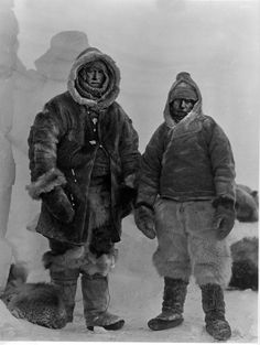 Last photo of Alfred Wegener & Rasmus Villumsen. Photographed just before their return back over the icecap.