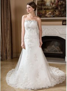 A-Line/Princess Strapless Chapel Train Satin Tulle Wedding Dress With Lace Beading  (All these come in champagne)
