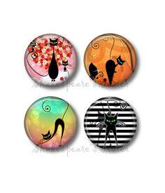 Black Cat Magnets  Fridge Magnets  Cat by ShakespearesSisters