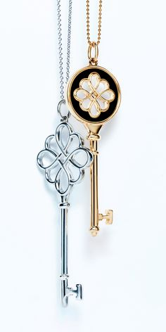 Tiffany Keys knot pendants, from left: sterling silver and 18k gold with black enamel finish. #TiffanyPinterest