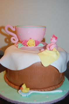 littlemrscupcake@yahoo.com  Tea Party Baby Shower Cake
