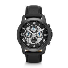 Grant Automatic Leather Watch - Black