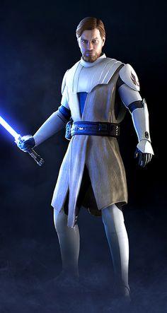 Clone Wars Obi-Wan Kenobi in Star Wars Battlefront II Video Game - Star Wars Costumes - Latest Star Wars Costumes - Cosplay Star Wars, Star Wars Costumes, Cosplay Diy, Star Wars Clone Wars, Star Citizen, Obi Wan, Star Wars Characters, Star Wars Episodes, Traje Jedi