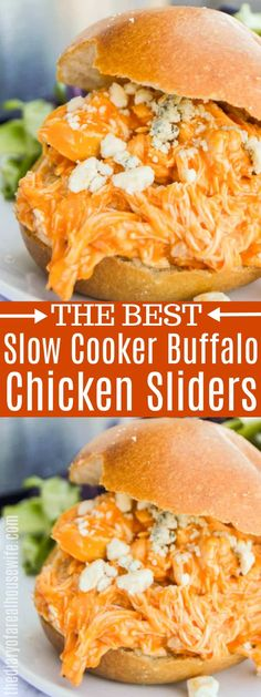 Slow Cooker Buffalo Chicken Sliders # Food and Drink slow cooker Slow Cooker Buffalo Chicken Sliders Buffalo Chicken Dip Recipe, Buffalo Chicken Sandwiches, Healthy Buffalo Chicken, Buffalo Chicken Wraps, Buffalo Food, Buffalo Ranch, Chicken Taquitos, Chicken Drumsticks, Slow Cooker Huhn