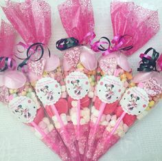10x Minnie Mouse Themed  Pre Filled Party Cones Personalised+Free Sweety Bag in Home, Furniture & DIY, Celebrations & Occasions, Party Supplies   eBay!