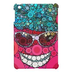 Funky Cool Smiling Face Sunglasses Hat Pink Blue Case For The iPad Mini.  $41.80