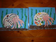 house for hermit crab craft & marbleized shaving cream seahorses