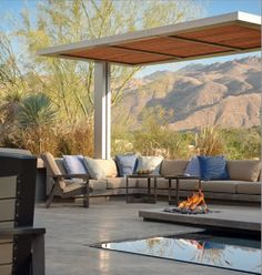 Terrace in the desert with fire pit