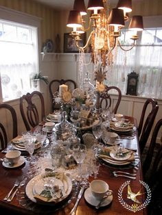 Feathers & Flight: Winter White Christmas Tablescape - chandelier bling