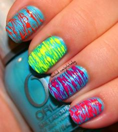 Neon, colorful nails.