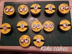 Minion cupcakes by Noha Sami Minion Cupcakes, Fondant Cupcakes, Chocolate Cupcakes, Cupcake Cakes, Fondant Tools, Sugar Paste, Cakes And More, Daily Inspiration, Minions