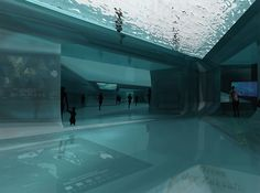 At times, the pavilion can be almost entirely underwater, leaving only small, specialized spaces for intimate events.