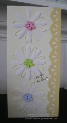 A very floral card using Creative Expressions Craft Dies by Sue Wilson, Delicate Daisies Open Petal Dies and Closed Petal Dies  www.needleworkgardencrafts.co.uk