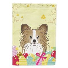 Caroline's Treasures Papillon Easter Egg Hunt 2-Sided Garden Flag