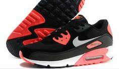 Nike Air Max 90 Running Shoe Ash Red Black