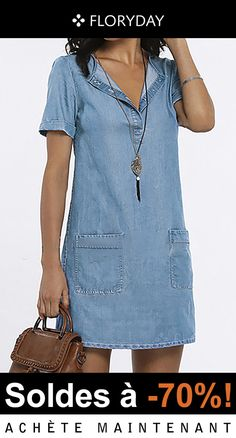 V-neck dress with buttons Formal Casual Outfits, Casual Dresses, Dresses For Work, Denim Fashion, Boho Fashion, Fashion Dresses, Kate Middleton Style Dresses, Mode Abaya, Latest Fashion For Women