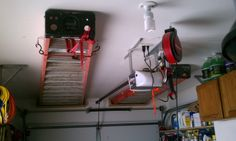 Ladder storage - I would use a pulley system for the dynamic end