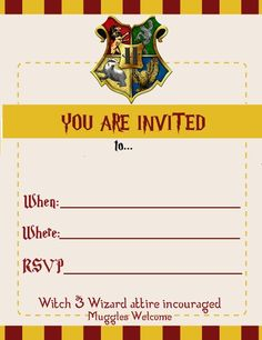 Harry Potter Themed Birthday Invite For Miss Kittys Lara Nowland Invites Templates