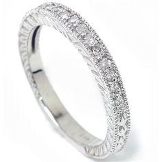 Heirloom Diamond Wedding Ring Band Milgrain 14K White by Pompeii3, $269.00