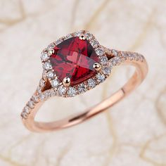 Halo Diamond Garnet Engagement Ring in 14k White Gold Pave Diamond Wedding Band 6x6mm Cushion Gemstone Ring