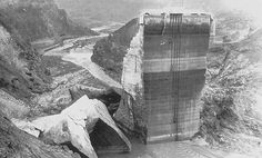 All that remained of St. Francis Dam above Saugus after it collapsed March 12, 1928 killing over 600 near Los Angeles. The tragedy ended the career of William Mulholland.