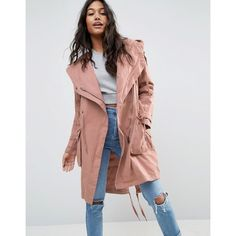 ASOS Waterfall Parka ($98) ❤ liked on Polyvore featuring outerwear, coats, pink, waterfall coat, cotton parka, pink coat, tall coats and hooded coat